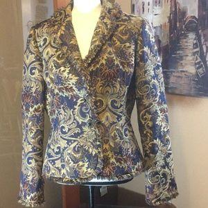 Vintage tapestry jewel button blazer fringe jacket